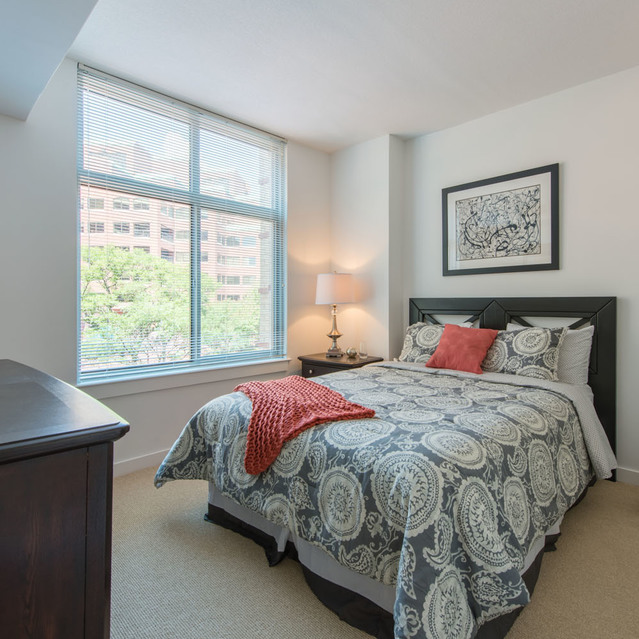 Bedroom space at The Bradley Braddock Road Station Apartments