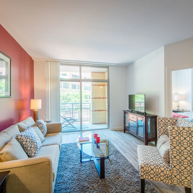 Living space at The Bradley Braddock Road Station Apartments