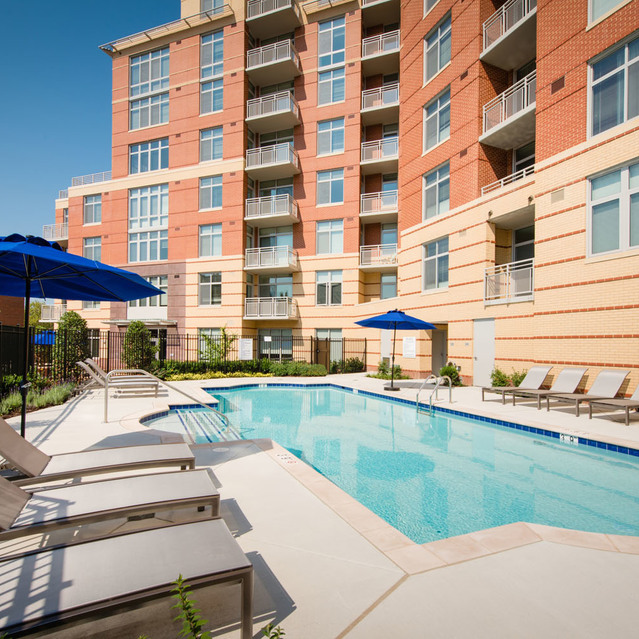 Pool deck at The Bradley Braddock Road Station Apartments